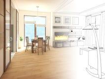 modern strömförande för interior för design 3d framför lokal 3d framför Royaltyfria Bilder