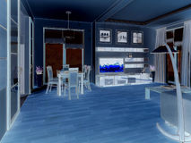 modern strömförande för interior för design 3d framför lokal 3d framför Royaltyfri Bild