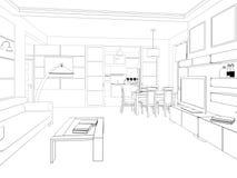 modern strömförande för interior för design 3d framför lokal 3d framför Royaltyfria Foton