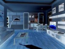modern strömförande för interior för design 3d framför lokal 3d framför Arkivfoton