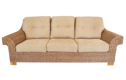 Modern straw sofa in retro style. Royalty Free Stock Images