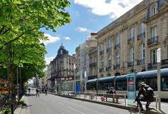Modern street in the ancient French city Bordeaux Stock Photos