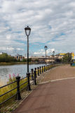 Modern street lamp. The Bank of the river Lagan. Royalty Free Stock Photo