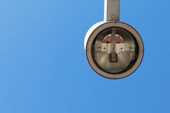 Modern street lantern with blue sky in background Royalty Free Stock Images