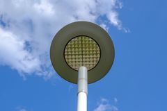 A modern street LED light on blue sky background royalty free stock photography