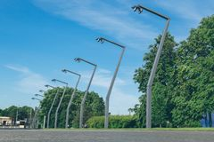 Modern street lights in center of Moscow at sunny day royalty free stock images