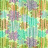Modern striped background with grunge floral shapes Royalty Free Stock Photography