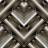 Modern striped floral seamless pattern. Vector abstract geometri. C background with gold 3d stripes, lines, stitches, rhombus, oval striped shapes in paisley Stock Images