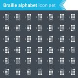 Modern, stroked Braille alphabet icons isolated on dark background. Modern, simple and thin Braille alphabet stroked icons isolated on white background Royalty Free Stock Image