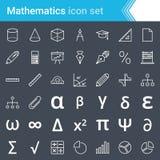 Modern, stroked mathematics icons isolated on dark background. Complete vector set of mathematics outline icon set, mathematics symbols and elements Stock Photos