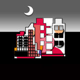 Modern structure. Colored building with background and moon Stock Photo