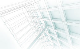 Modern structure, 3d illustration, wire-frame effect Stock Photo