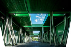 Modern structures and materials for safety. Leading lines and unique solutions to achieve the public safety at a recreational facility Royalty Free Stock Photography