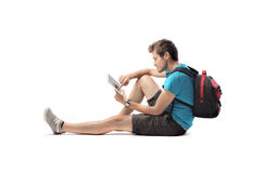 Modern student. Young student using a tablet pc Royalty Free Stock Image