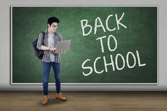 Modern student back to school and use laptop Stock Photo