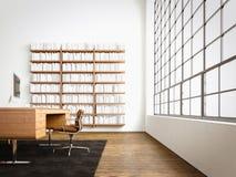 Modern studio interior panoramic window,natural wood floor,blank white concrete walls.Generic design furniture,computer Stock Photo
