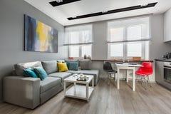 Modern studiolägenhet i grå färger arkivfoton