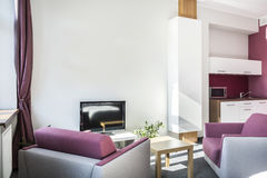 Modern studiolägenhet med violetta detaljer arkivbild