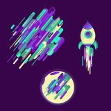 Modern style abstraction with composition made of various rounded shapes in color, a modern image of a flying rocket and the moon. Stock Photo