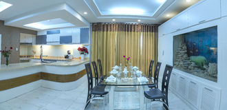 Modern style apartment combines living room, dining room, large space Royalty Free Stock Images