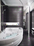 Modern style bathroom, 3d render. Modern interior design ideas. Three dimensional rendering of bathroom project Stock Photography
