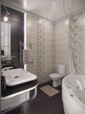 Modern style bathroom, 3d render. Modern interior design ideas. Three dimensional rendering of bathroom project Stock Photo