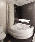 Modern style bathroom, 3d render. Modern interior design ideas. Three dimensional rendering of bathroom project Stock Photos