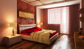 Modern style bedroom interior 3d Royalty Free Stock Image