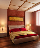 Modern style bedroom interior 3d Stock Image