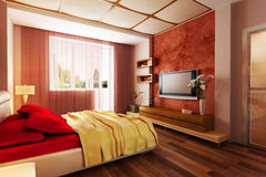 Modern style bedroom interior 3d Royalty Free Stock Images