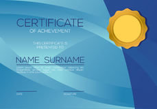 Modern Style Blank Blue Certified Template Stock Photo