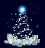 Modern Style Blue Christmas Tree Royalty Free Stock Image