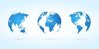 Blue globes vector set planet earth Stock Image