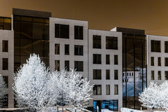 Modern style buildings in center of Moscow, infrared view Stock Photos