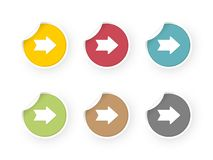 Colored stickers set with arrows icon vector illustration
