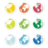 Colored world globe icons stickers set. Modern style colored world globe icons stickers set royalty free illustration