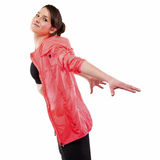 Modern style dancer posing with hands on back in studio backgrou Royalty Free Stock Photography