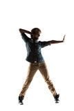 Modern style dancer posing on studio background royalty free stock photo