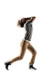 Modern style dancer posing on studio background Royalty Free Stock Images
