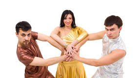 Modern style dancers posing. On a white background Stock Images
