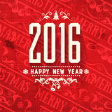 Modern  style grange red white color scheme new year greetings card. On red grange retro scratched stained background. Flat design element. Bright mood. 2016 Royalty Free Stock Image