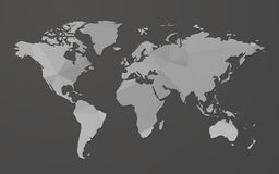 Gray blank world map on black background. Modern style gray blank world map on black background stock illustration