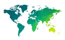 Green geometric blank world map. Modern style green geometric blank world map royalty free illustration