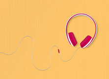 Modern style headphones on the yellow background. Vector illustration. Stock Photography