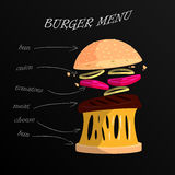 Modern style illustration of burger with ingredients. Fast food Royalty Free Stock Photography
