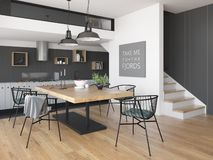 Modern style interior design 3D rendering Stock Images