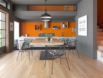 Modern style interior design 3D rendering Stock Image