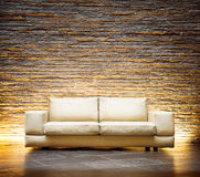 Modern style interior design. Leather beige sofa Royalty Free Stock Image