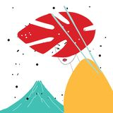 Modern style Japanese background with Asian girl and mountain Fuji. Vector illustration stock illustration