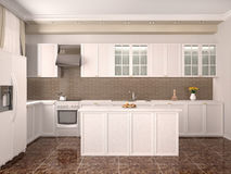 Modern style kitchen interior. 3d illustration Stock Photography